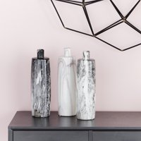 """CosmoLiving Handmade Tall Cylindrical Ceramic Bottle Vases with Glossy Black, White, Gray Marble Finishes 