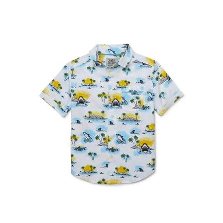 365 Kids from Garanimals Boys Island Shark Print Button Down Shirt, Sizes 4-10 Pattern Shank Buttons