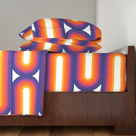 Rainbow Retro 70S Rainbow Stripes Retro 100% Cotton Sateen Sheet Set by  Roostery