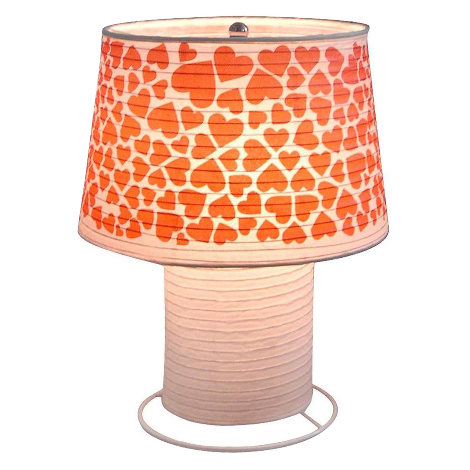 "Heart Paper Lantern Desk Lamp, White, Home, Room, Office Decor, Paper Lantern with hearts printing on the lamp, Product Size after assembly : 9.44"" x 11.81"" x 9.44"""