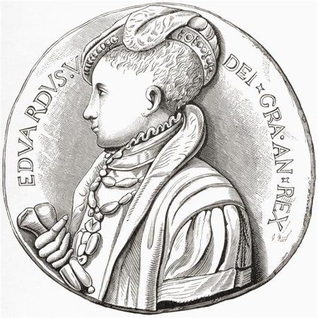 Coronation Medal of Edward Vi. Edward Vi, 1537 to 1553 King of England & Ireland From The Book Short History of The English People by J.R. Green Published London 1893 Poster Print, 14 x 14 - image 1 of 1