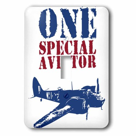 1 Single Toggle Switch (3dRose Grunge Blue Fighter Plane With The Words One Special Aviator, Single Toggle Switch)