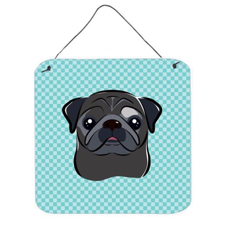 Checkerboard Blue Black Pug Aluminum Metal Wall Or Door Hanging Prints, 6 x 6 In. - image 1 de 1