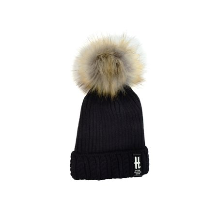 kids fur pom pom knit winter beanie ski cap for boys girls (World Industries Cap)
