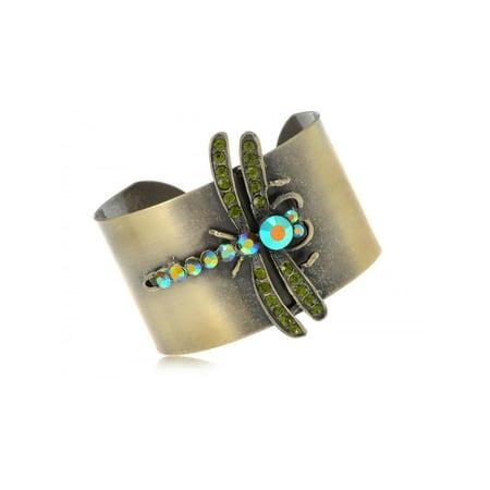 Bronze Gold Tone Olivine Green Crystal Rhinestone Dragonfly Cuff Bracelet Bangle