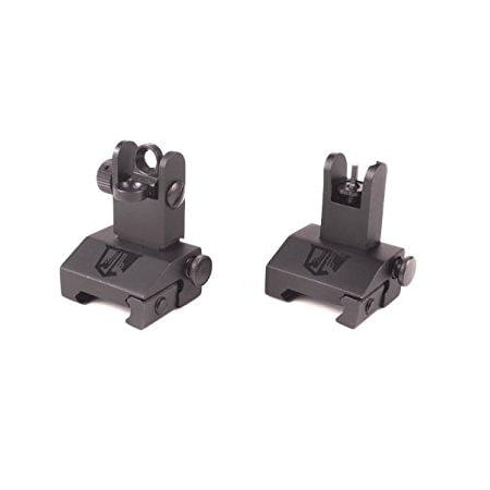 flip up backup battle sights by ozark armament picatinny mount ar pattern flat-top upper co-witness iron sights