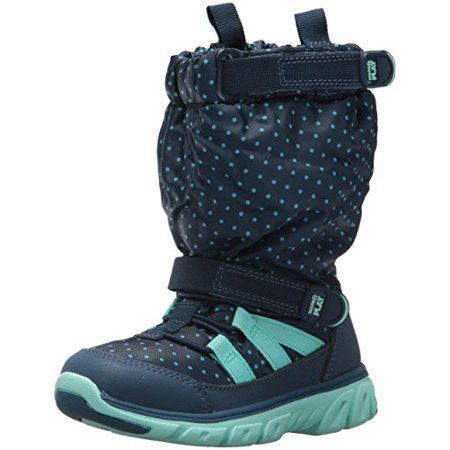 Stride Rite Girls' Made 2 Play Sneaker Boot Snow, Navy/Turquoise, 9 M US - Girls Boot Sneakers
