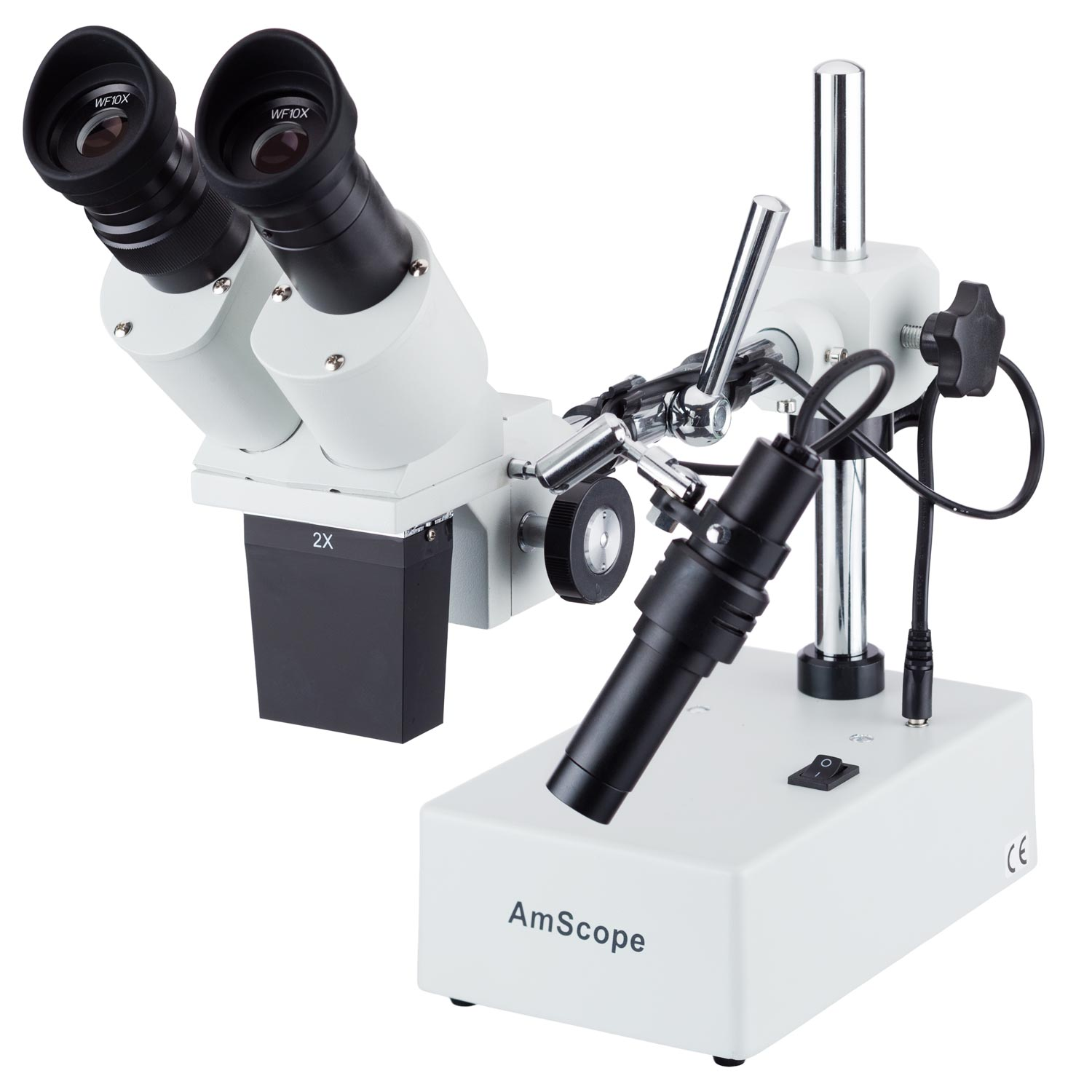 AmScope 10X & 20X Widefield Stereo Microscope with Boom Arm Stand and Incident Light by United Scope