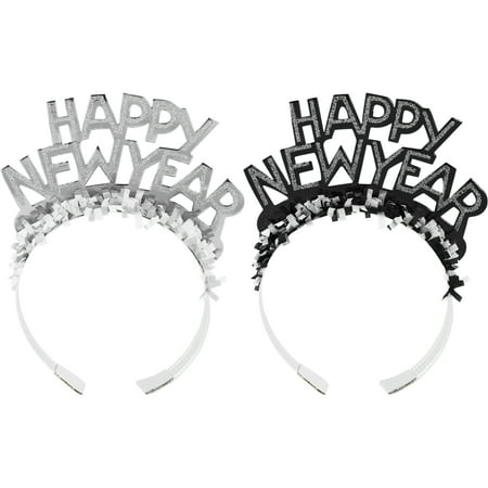 New Year's Eve Black and Silver Foil Glitter Tiaras, each - Black Swan Tiara Halloween