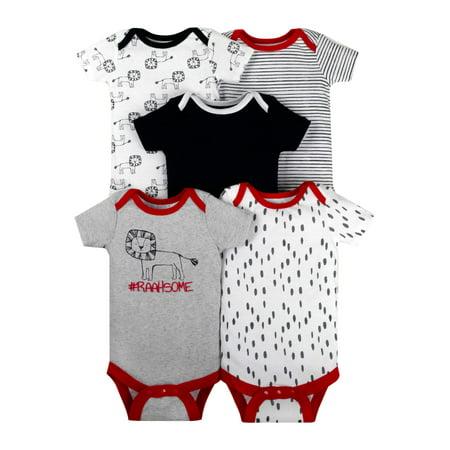 Newborn Baby Boy Assorted Short Sleeve Bodysuit, 5-pack