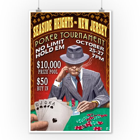 Seaside Heights, New Jersey - Poker Tournament Vintage Sign - Lantern Press Poster (9x12 Art Print, Wall Decor Travel (Poker Jersey)