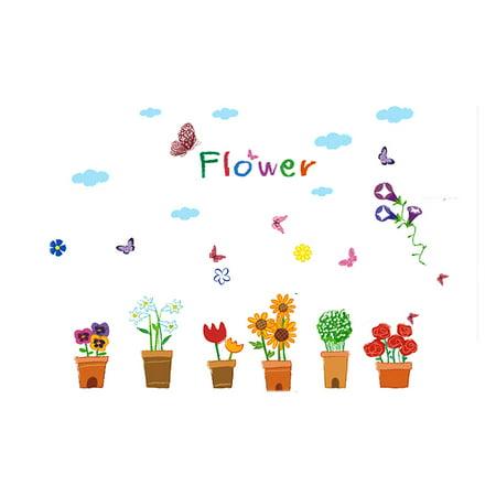 Unique Bargains Cartoon Flower Pattern Removable Wall Sticker Room Decor DIY Decal for Home Essential - image 3 de 3