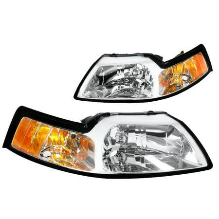 Spec-D Tuning 1999-2004 Ford Mustang V6 Gt Chrome Head Lights Pair 2001 2002 2003 99 00 01 02 03 04 (Left + (2001 Ford Mustang Headlights)
