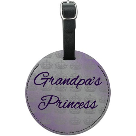 Grandpa's Princess Violet with Crowns Round Leather Luggage ID Tag Suitcase