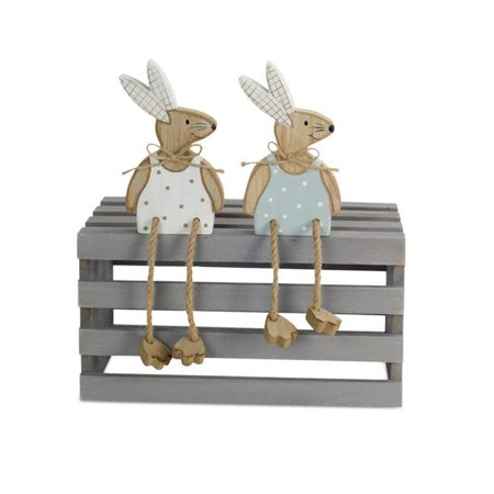 Melrose International 70825 6 in. Bunny with Twine Legs Wood, Blue White - Set of 12 - image 1 de 1