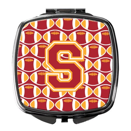 Letter S Football Cardinal and Gold Compact Mirror (Cardinal Mirror)