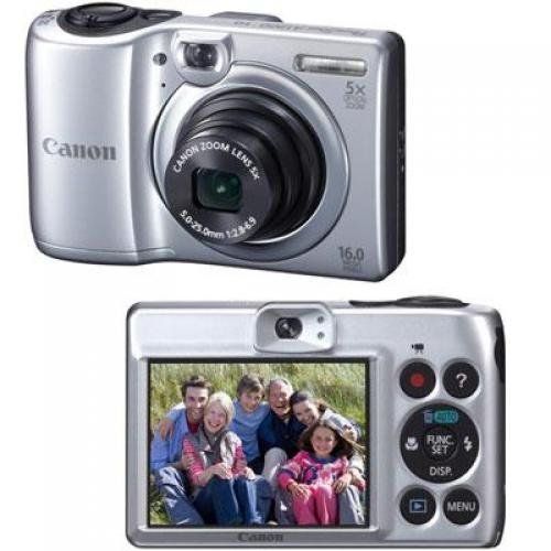 "Canon PowerShot A1300 Silver 16MP Digital Camera w/ 5x Optical Zoom Lens, 2.7"" LCD Display, HD Video, Digital Image Stabilization"