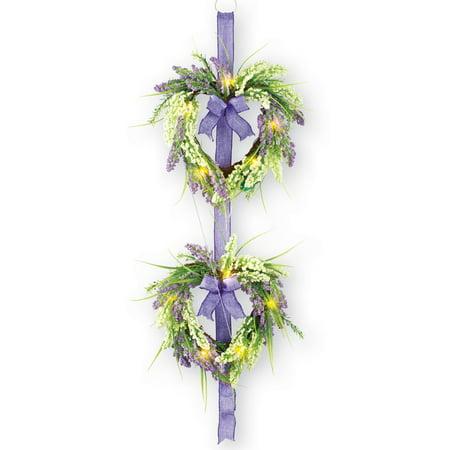 Pre Lit Lavender Heart Shaped Double Door Wreath Purple