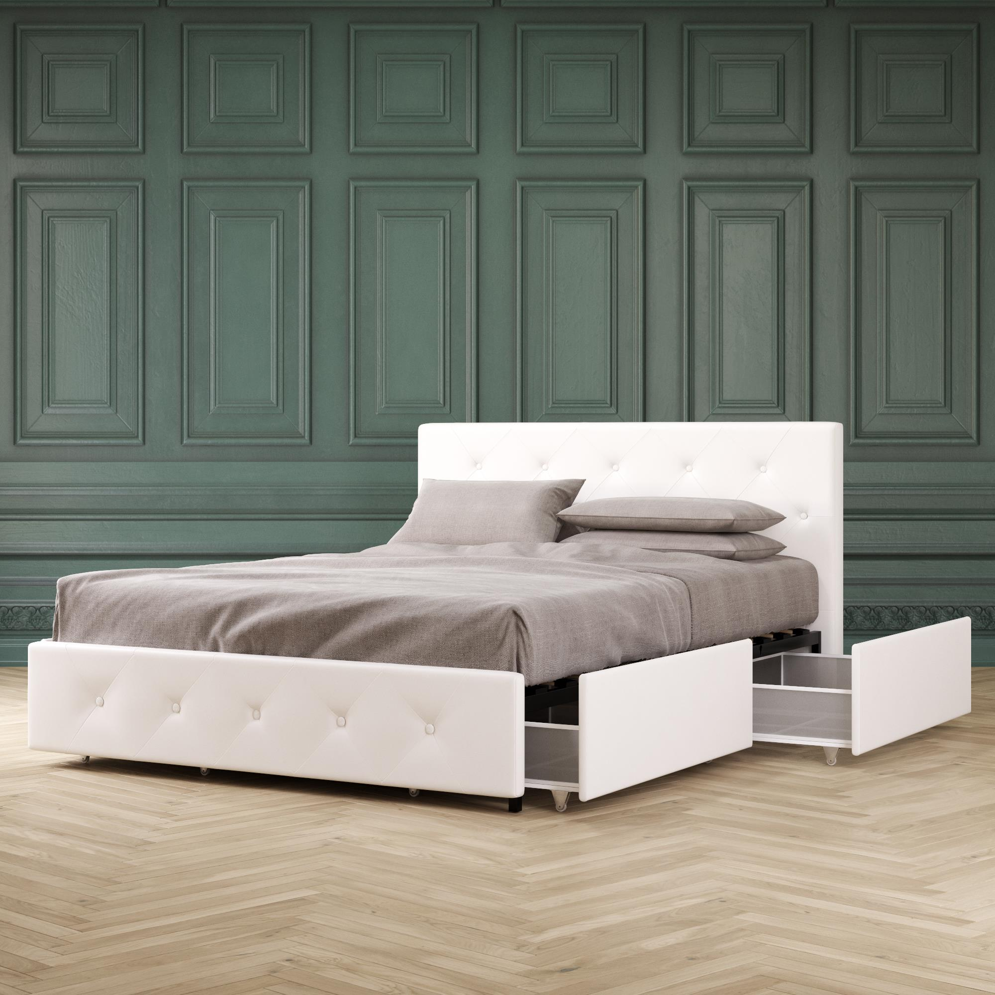Picture of: Dhp Dean Upholstered Bed With Storage White Faux Leather Queen Walmart Com Walmart Com