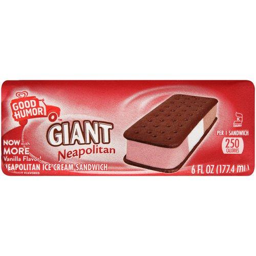 Good Humor Giant Neapolitan Ice Cream Sandwich, 6 fl oz