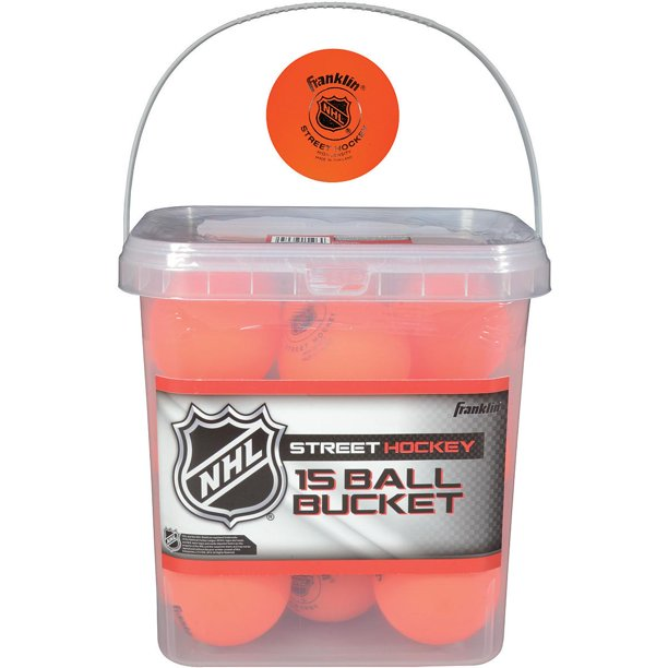 Franklin NHL High-Density Street Hockey Ball Bucket - 15-Pack