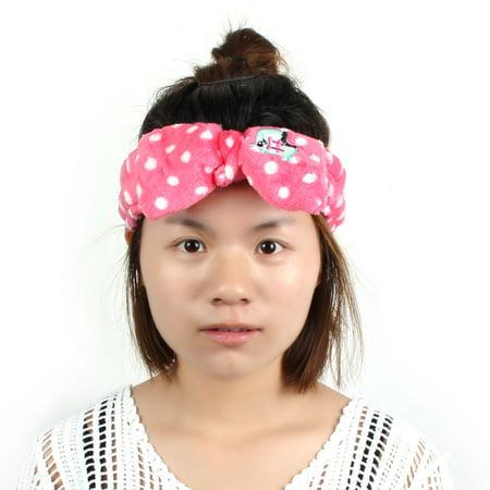Women Shower Wash Face Makeup Caroset Bowknot Shape Soft Lovely Hair Band Headband Head Wrap Fuchsia - image 5 de 5