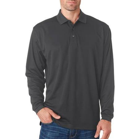 UltraClub Men's Long-Sleeve Mesh Pique Polo Shirt (Sleeved Mesh Polo)