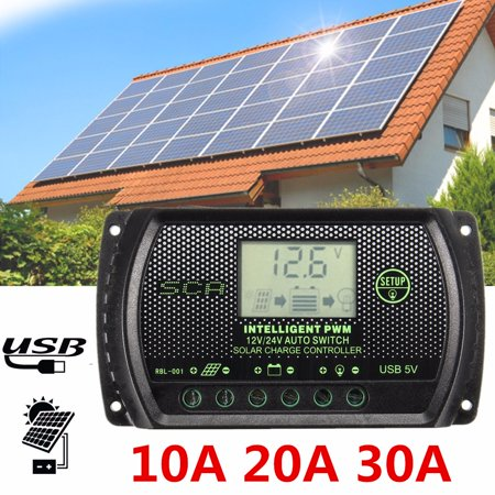 - 10A/20A/30A PWM Auto Solar Panel Battery Regulator Charge Controller with USB Port LCD Display 12V/24V
