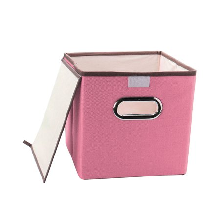 Foldable Storage Cube Bins Fabric Laundry Baskets Toy Box Organizers Pink