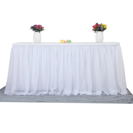 Finether Tutu Tulle Table Skirt Cloth,72.05 x 30.31 x 0.2 inches for Party Wedding Home Decoration,White - Pink Tutu Table Skirt