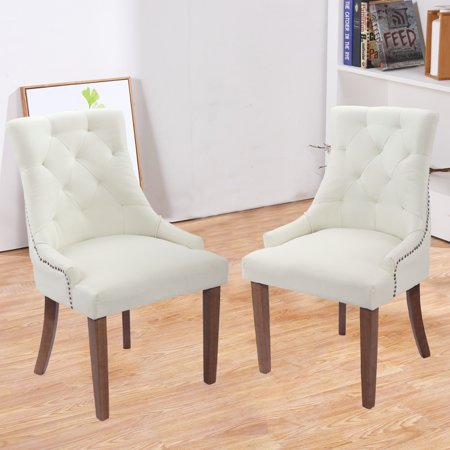 Jaxpety Set Of 2 Elegant Fabric Accent Dining Chairs Tufted Pattern Living Room
