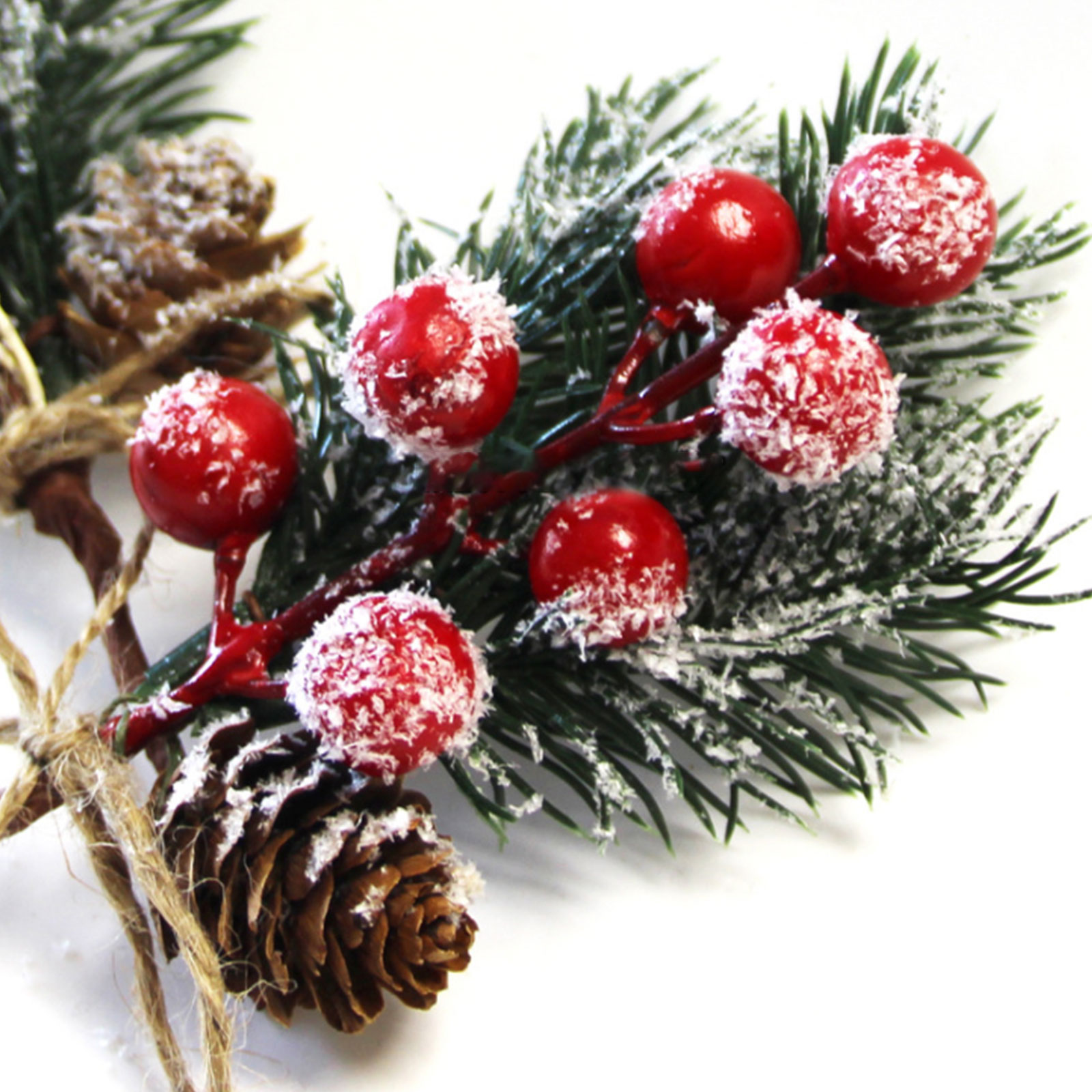 8 Pcs White Christmas Berries Pine Cones for DIY Crafts-Christmas Tree Picks Small Spot Spray Evergreen Artificial Pine Branches Holly Stem for Decoration,Xmas Garland D/écor,Gift Wrap Embellishment