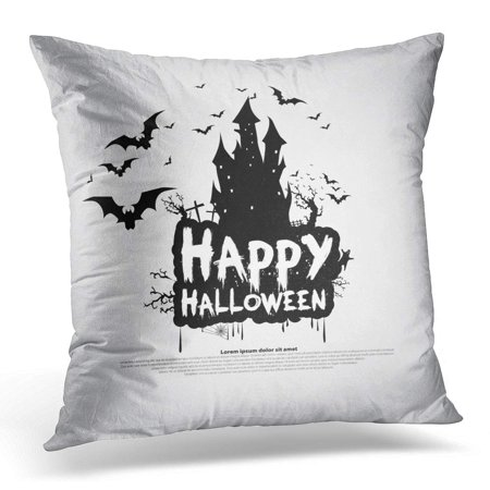 ECCOT Black Bat Happy Halloween Message Design Gray Abstract Pillowcase Pillow Cover Cushion Case 20x20 inch - Halloween Safety Message