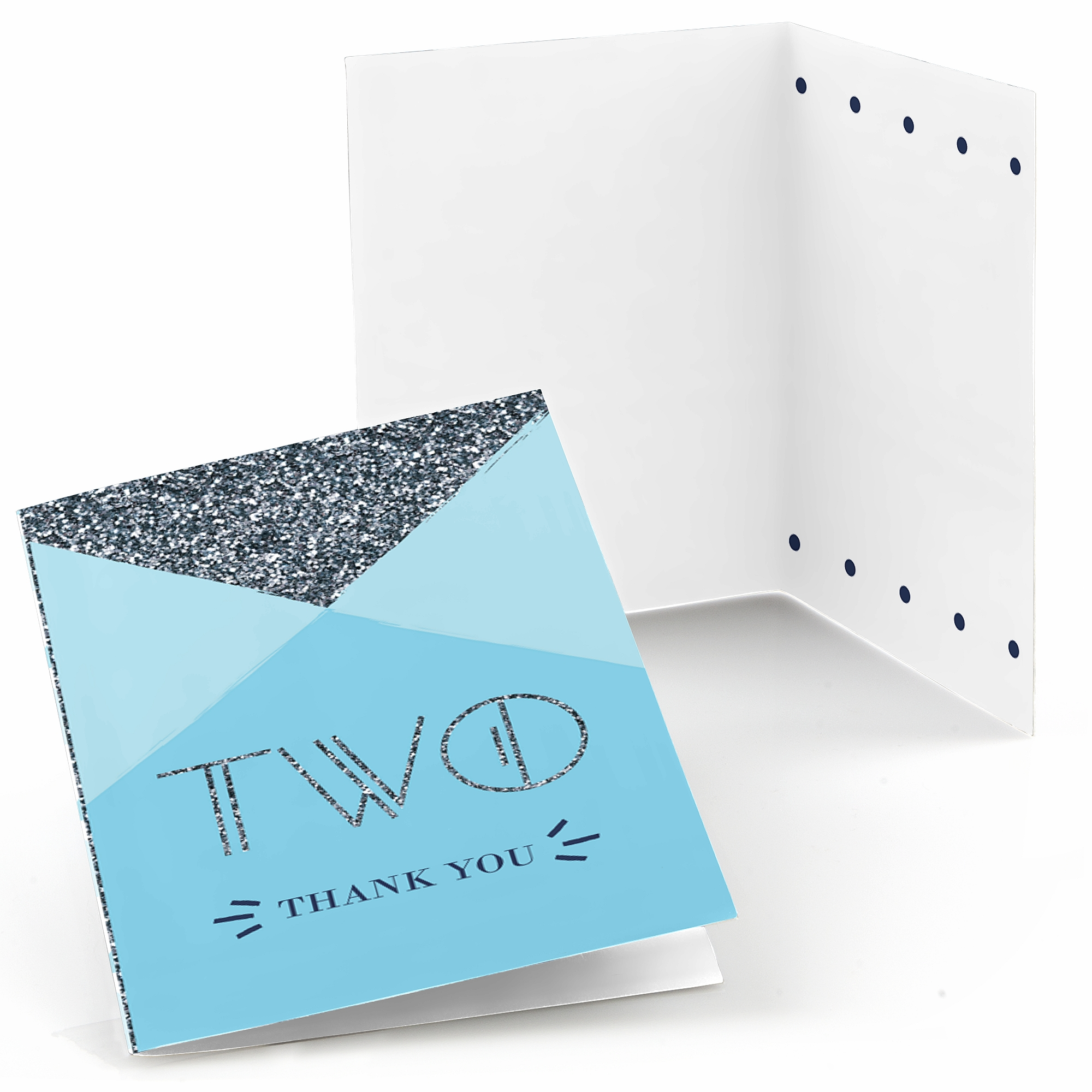 Two Much Fun - Boy - 2nd Birthday Party Thank You Cards (8 count)