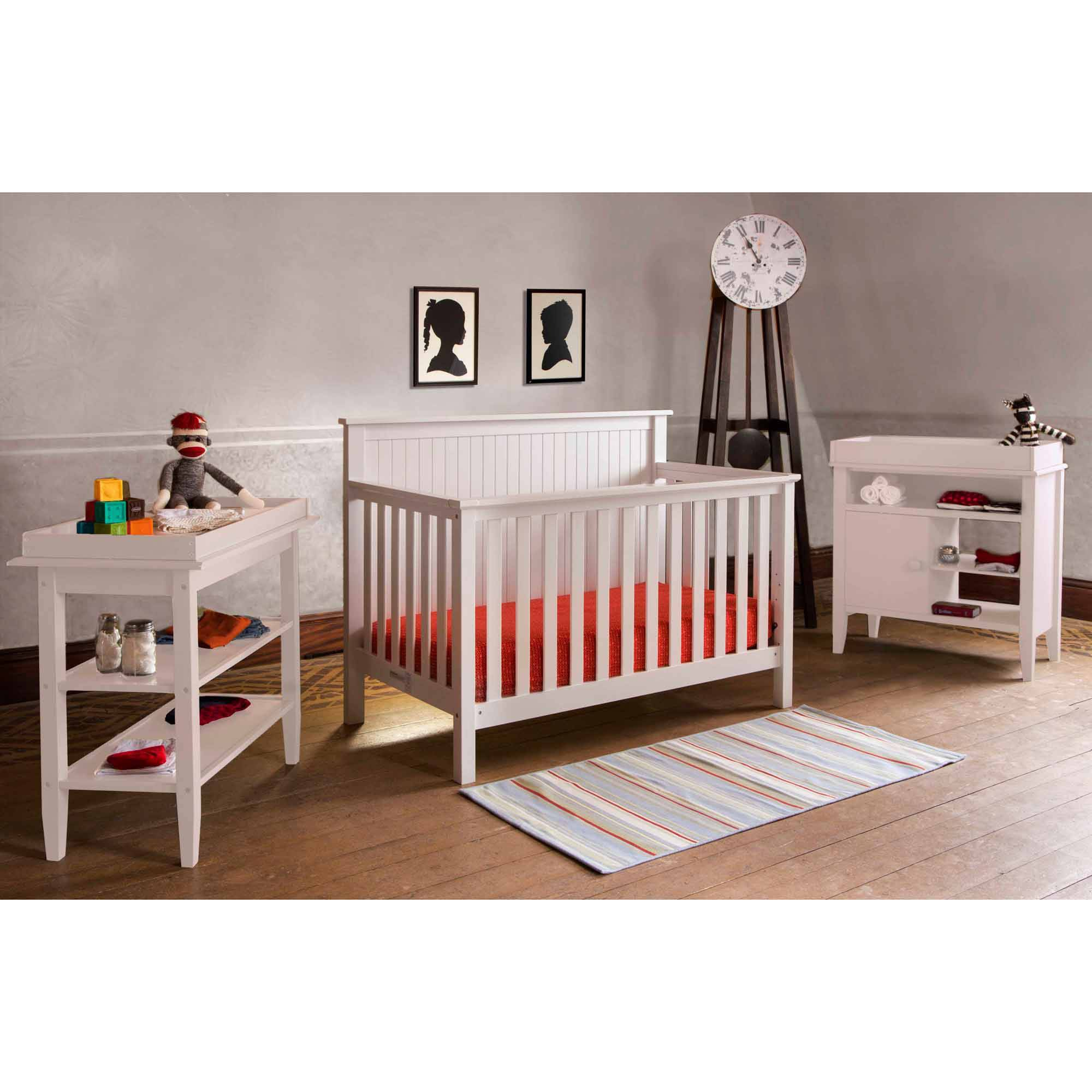 Lolly and Me Americana 4-in-1 Fixed-Side Convertible Crib, White