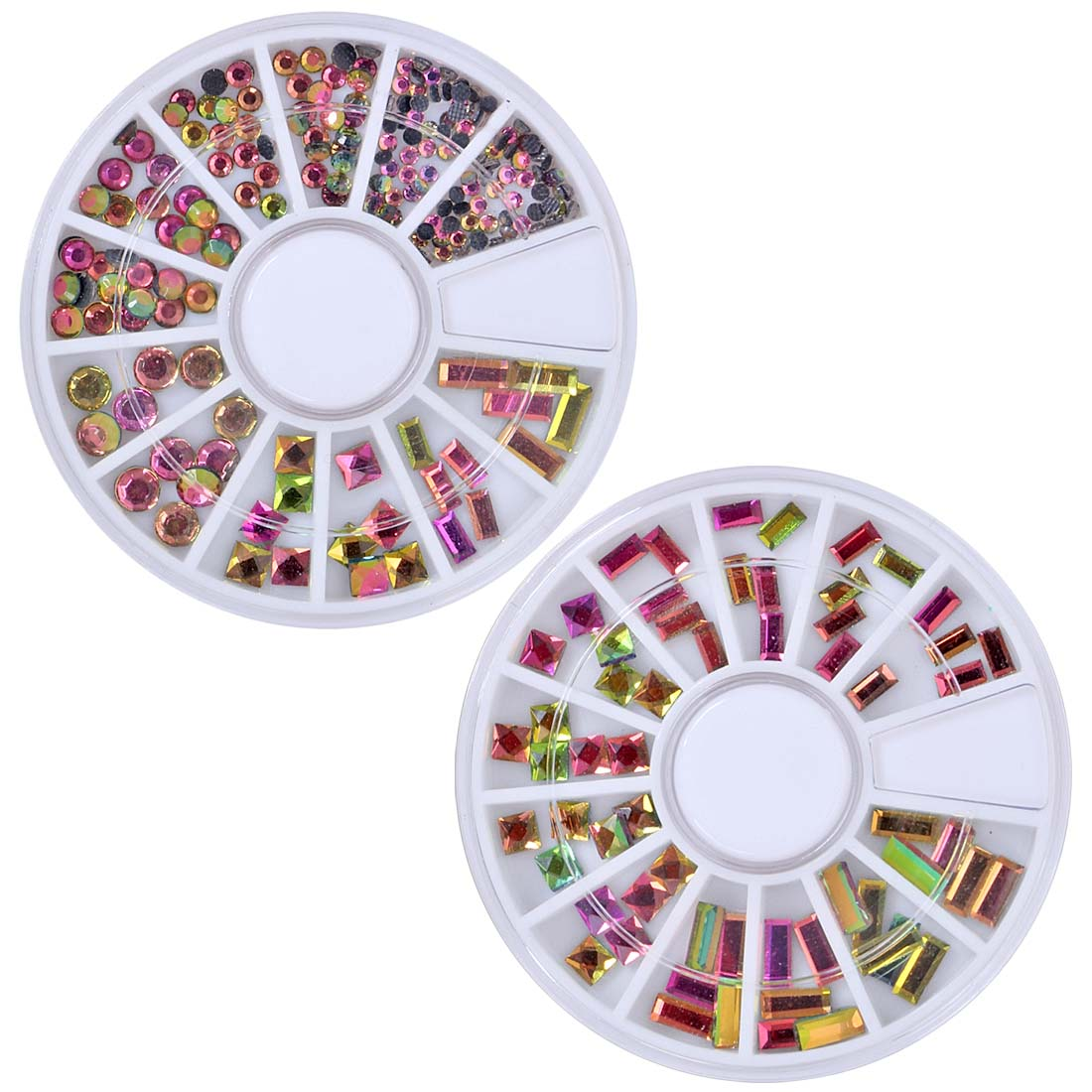 BMC Pinkish Green Chameleon Color Changing Nail Art Studs - 2 Wheel Set: Rectangles, Squares, Rounds