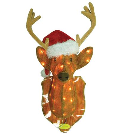 Pre Lit Redneck Mounted Hanging Buck With Santa Hat Christmas Decoration Clear Lights