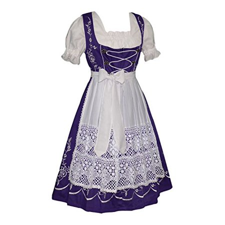 Dirndl Trachten Haus 3-piece Long Purple German Party Oktoberfest Waitress Dress (Halloween Dirndl Dress)