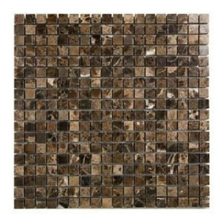 5/8 x 5/8 emperador marble polished mosaic tiles for backsplash, shower walls, bathroom