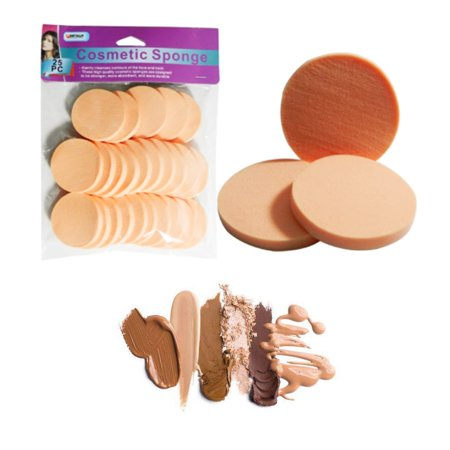 25 Cosmetic Sponge Round Pads Beauty Foam Make Up Applicator Foundation