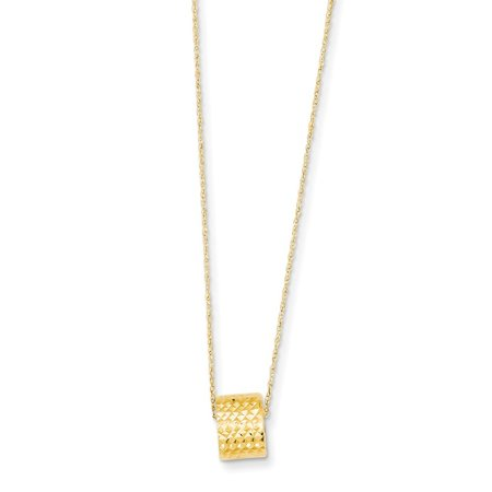14k Yellow Gold Rope Chain With Barrel Bead W/ 2in Extension Necklace - 1.3 Grams - 16 Inch 14k Gold Barrel