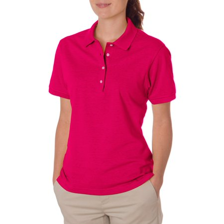 Jerzees Women's Four Pearl Buttons Collar Sport Polo Shirt 3 Button Polo Collar