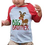 7 ate 9 Apparel Kids Big Brother Christmas Raglan Shirt Red 12 Months