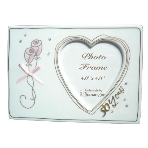 "50th Wedding Anniversary Heart Picture Frame 4"" x 4"""