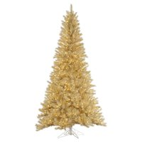 Vickerman Pre-Lit 5.5' White/Gold Tinsel Artificial Christmas Tree, Clear Lights