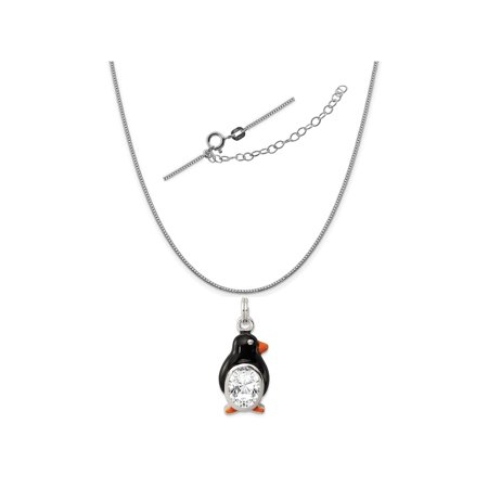 Sterling Silver CZ Enameled Polished Penguin Charm on a 0.90mm Box Chain Necklace, 18