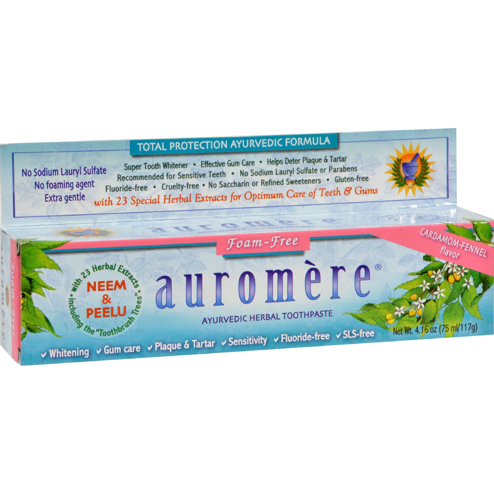 Auromere Ayurvedic Herbal Toothpaste Non Foaming Cardamom Fennel, 4.16 Oz