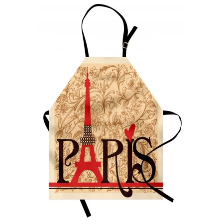 Vintage Apron Paris Vintage Floral French Eiffel Tower City Holiday Stylish Postcards Gifts, Unisex Kitchen Bib Apron with Adjustable Neck for Cooking Baking Gardening, Red Brown Ecru, by Ambesonne