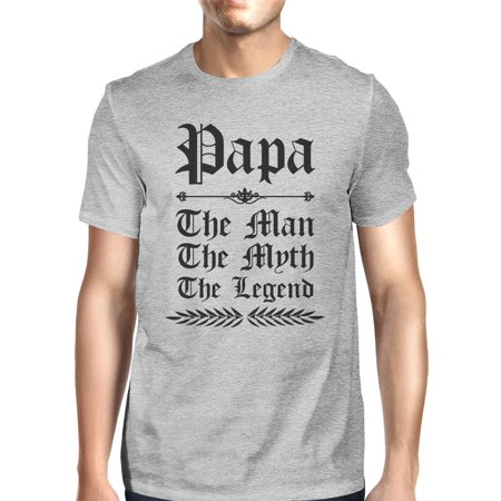 Vintage Gothic Papa Mens Grey Mythic Best Dad T-Shirt For Gifts Idea (Men Gothic)