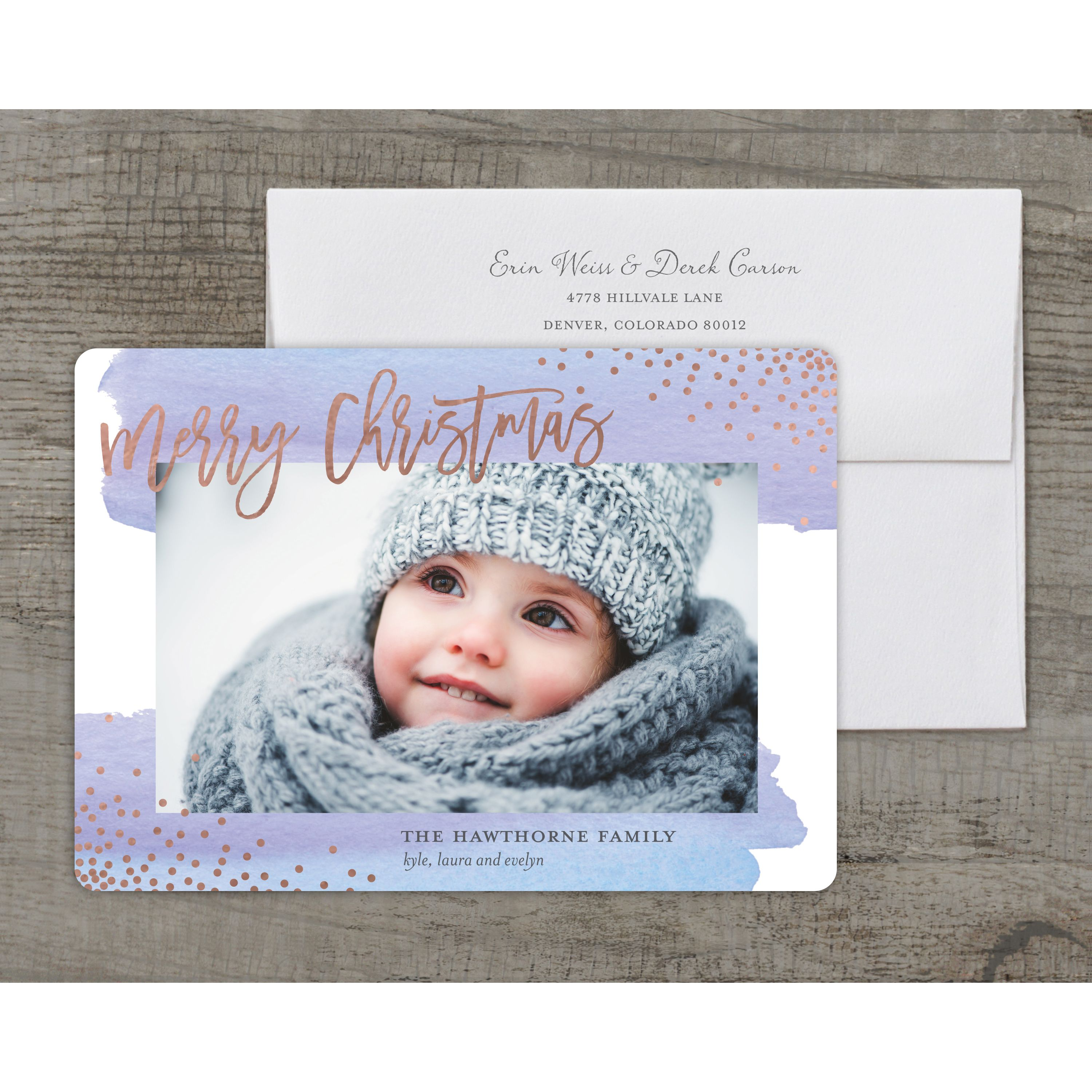 Watercolor Christmas - Deluxe 5x7 Personalized Holiday Christmas Card